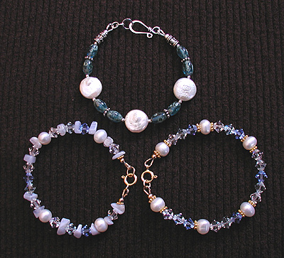 swarovski crystal, freshwater pearl, glass bracelets