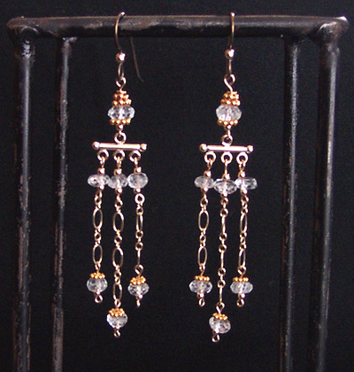 aquamarine, bali vermeil, goldfilled chain earrings