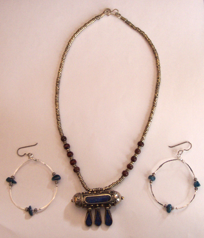 hammered sterling silver hoops with apatite, iranian silver and lapis necklace