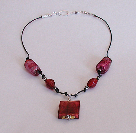 venetian glass bead necklace on leather cord