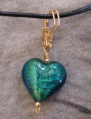 venetian glass heart pendant with handmade wire bail