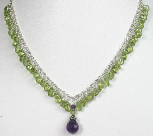 sky dreams peridot, amethyst necklace