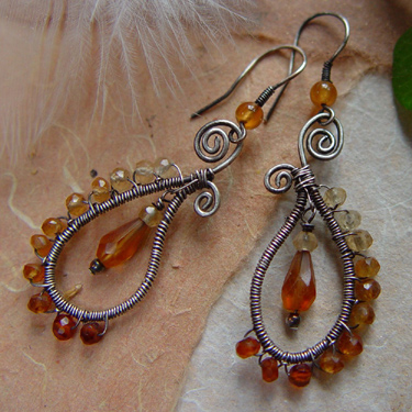 natural jewels hessonite earrings