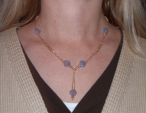 blue chalcedony and bali vermeil necklace