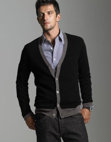 black and grey cashmere cardigan