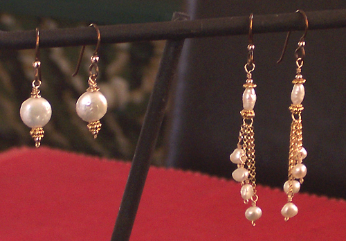 handmade coin pearl and tiny pearls earrings