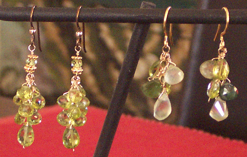 handmade peridot, prehnite, tourmaline earrings