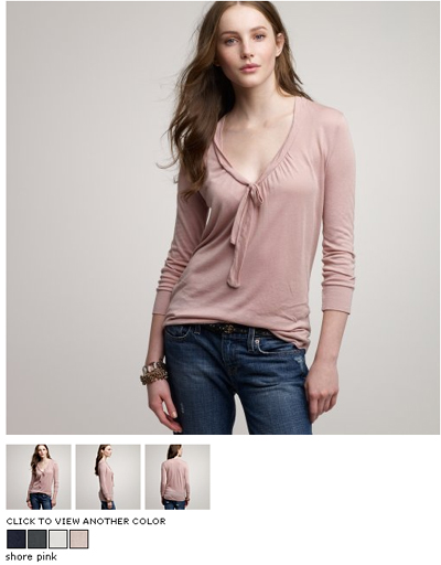 j crew gathered tie-front top
