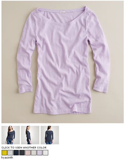 jcrew boatneck tee in hyacinth