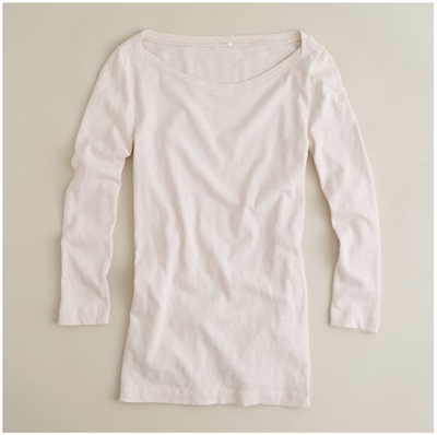 jcrew boatneck painter tee in pale blossom