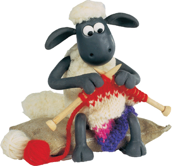 claymation sheep knitting