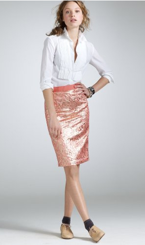 jcrew lipstick gold foil pencil skirt
