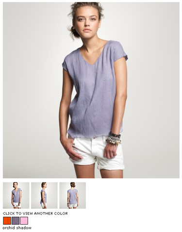 j crew crinkled chiffon tunic in orchid shadow