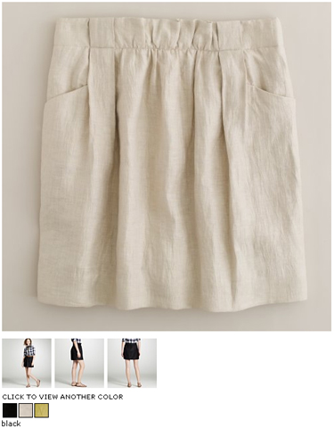 jcrew linen charter skirt in light flax