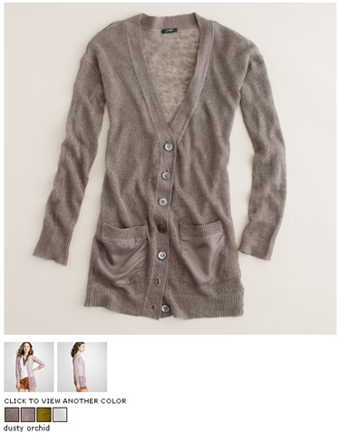 jcrew linen silk-pocket cardigan in smoke