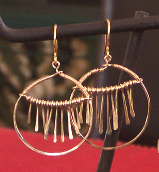 handmade hammered hoop earrrings
