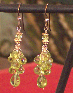 handmade peridot earrings