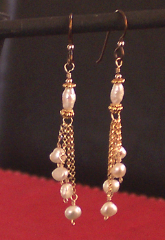 handmade pearl and chain earrings