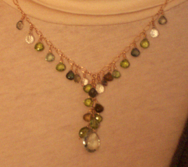 handmade green stones necklace