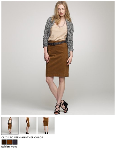 j.crew pencil cord skirt in golden wood