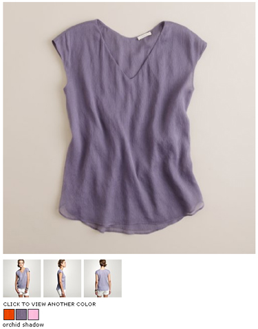 jcrew crinkled chiffon tunic in orchid shadow