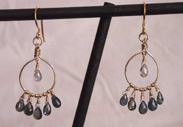 handmade sapphire hoop earrings