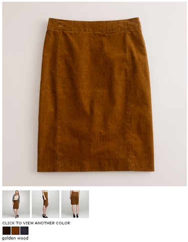 j.crew cord pencil skirt in golden wood