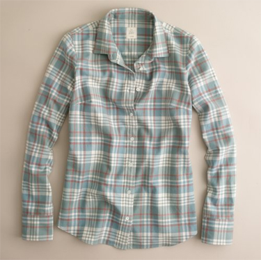 j.crew  <br />teal flannel boy shirt