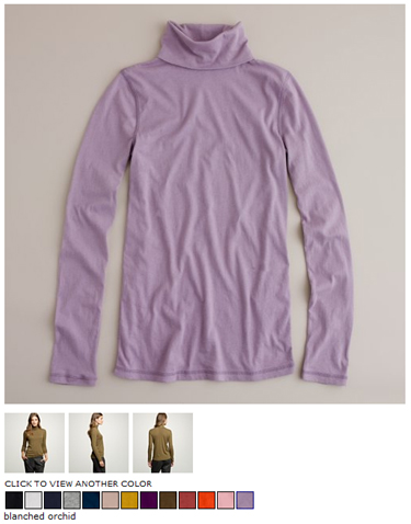 j.crew tissue turtleneck in blanched orchid