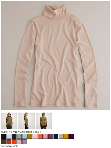 j.crew tissue turtleneck in heirloom pink