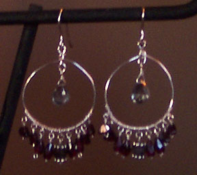 handmade sterling silver garnet hoop earrings