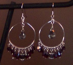 handmade sterling silver garnet hoop earrings