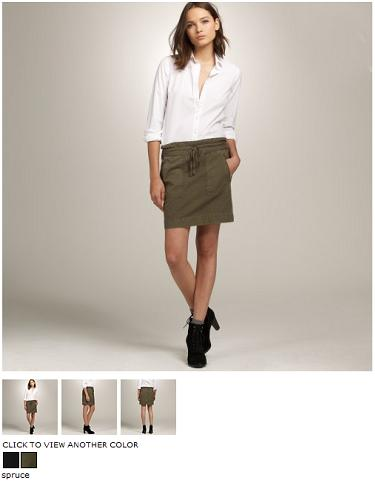 j.crew canvas military skirt