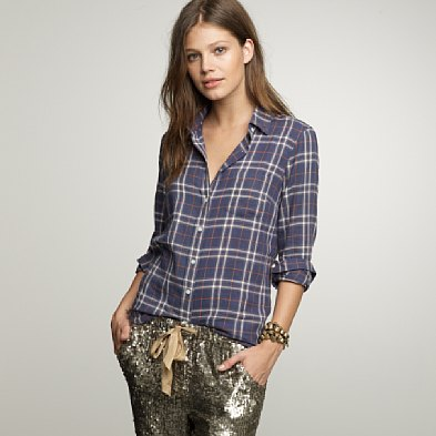 j.crew herringbone plaid boy shirt