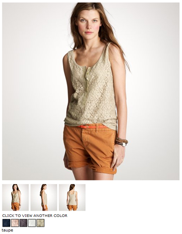 jcrew lace-over tank in taupe