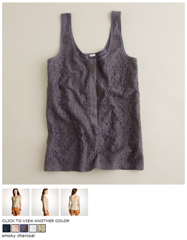 j.crew lace-over tank in smoky charcoal