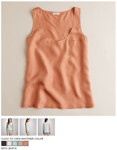 j.crew silk pocket tank in spicy guava
