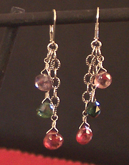 handmade tourmaline earrings on oxidized chains