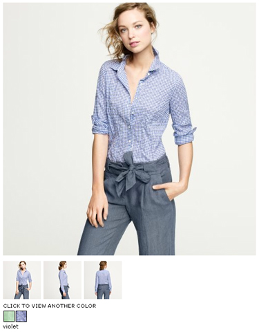j.crew perfect shirt in suckered mini gingham