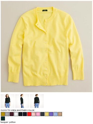 j.crew jackie cardigan in lacquer yellow