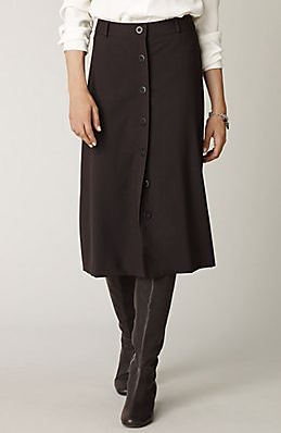 simple 120 button-front skirt in walnut heather