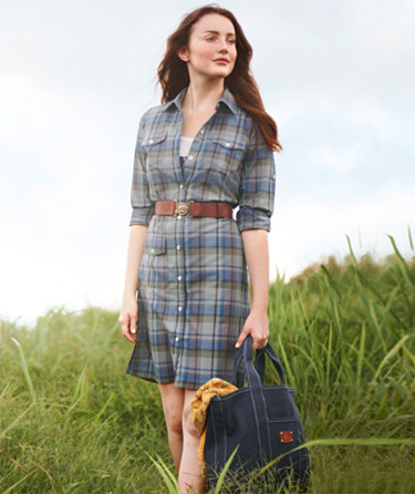 plaid dress, belt with ship buckle