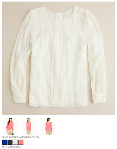 j.crew silk pintuck blouse in antique white
